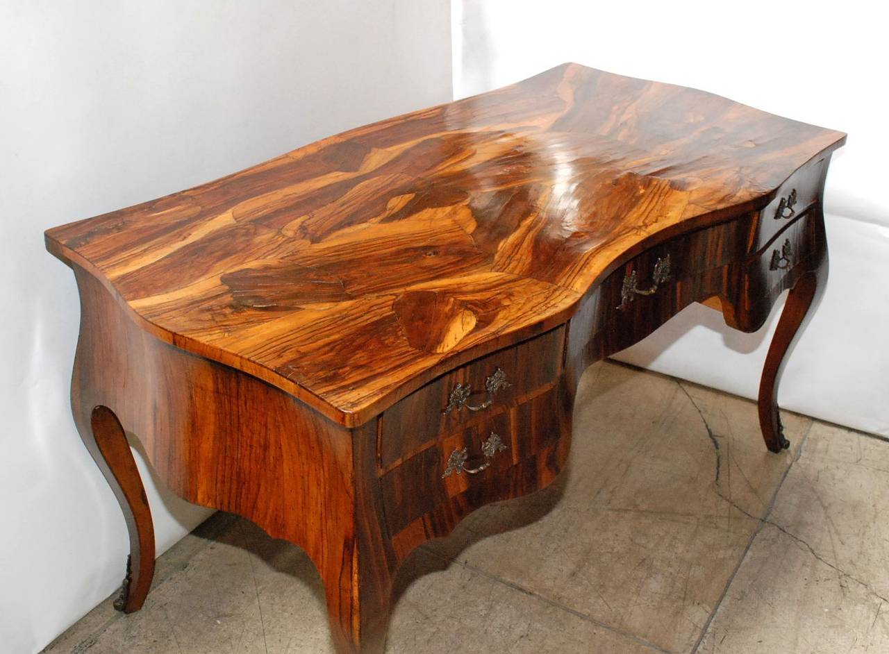 Italian Olive Wood Desk at 1stdibs