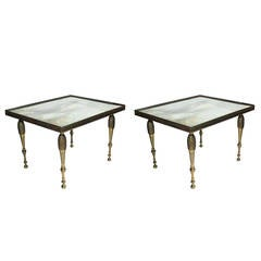 Pair of Hollywood Regency Mirrored Bronze Side Tables