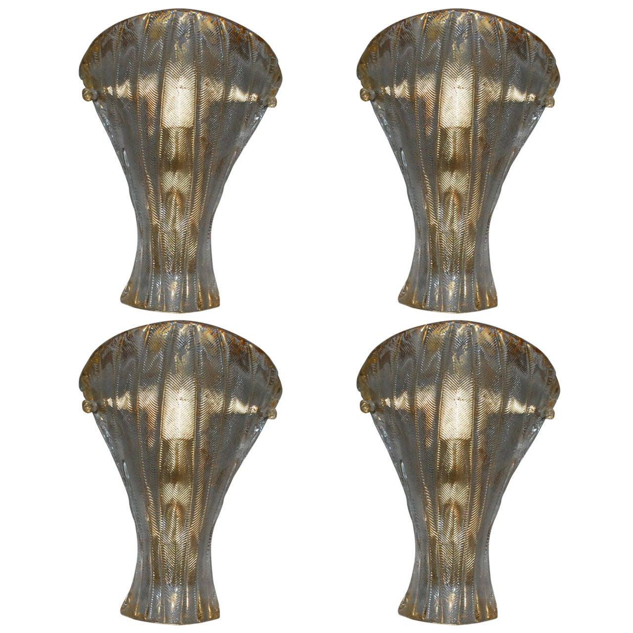 Set of Four Mazzega Gold Shield Sconces