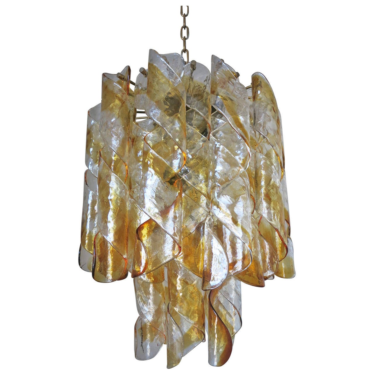 Mazzega Clear and Amber Twists Chandelier
