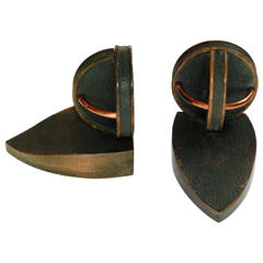 Pair of Geometric Bookends in the Style of Jacques Adnet