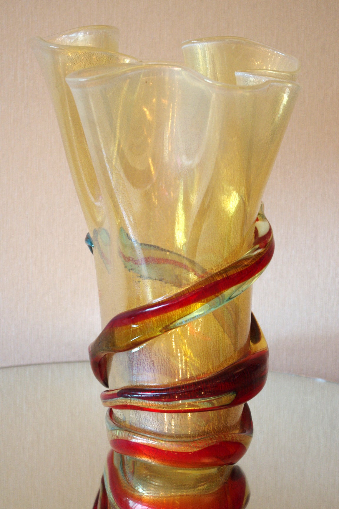 Gold And Multicolor Stripe Murano Vase For Sale At 1stdibs