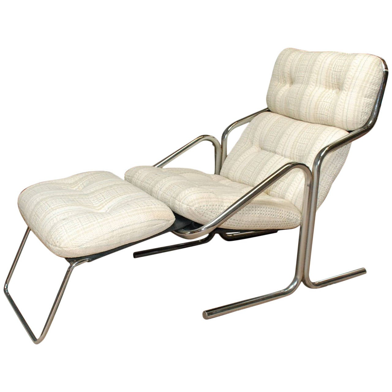 Chrome and Striped Chenille Lounger by Jerry Johnson