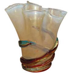 Gold and Multi-Color Stripe Murano Vase