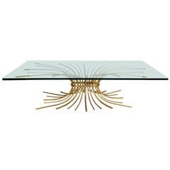Gilded Iron Stylized Wheat Sheaf Coffee Table
