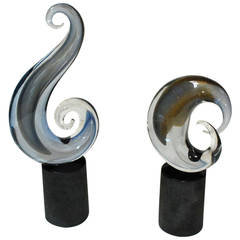 Set of Two Murano Sculptures Signed by Romano Dona
