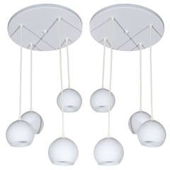 Pair of Midcentury, Four-Light Pendants