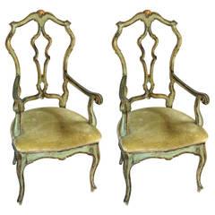 Pair of Venetian Painted Armchairs