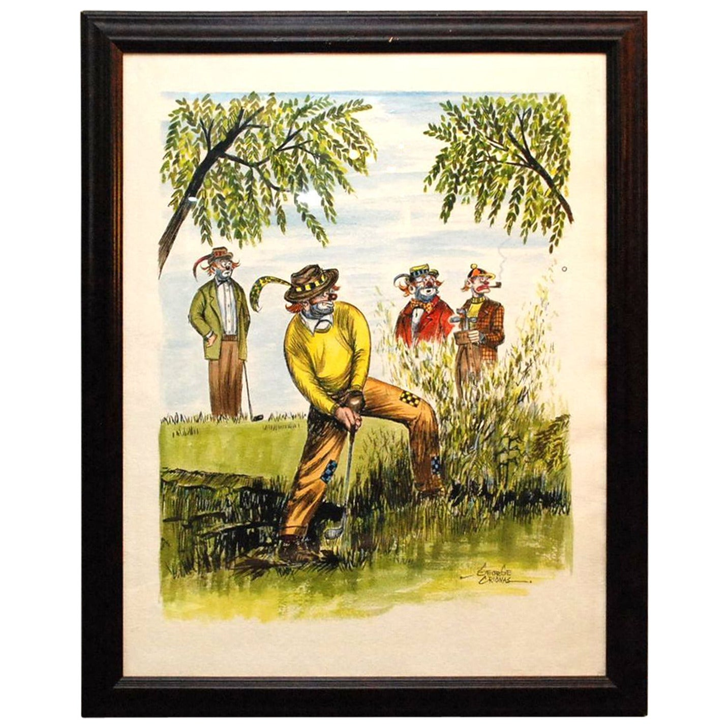 """George Crionas """"Golf Clowns"""" Watercolor"""