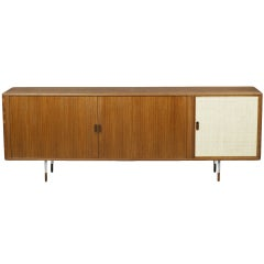 Teak Tambour Door Sideboard with Burlap Door by Arne Vodder for Sibast