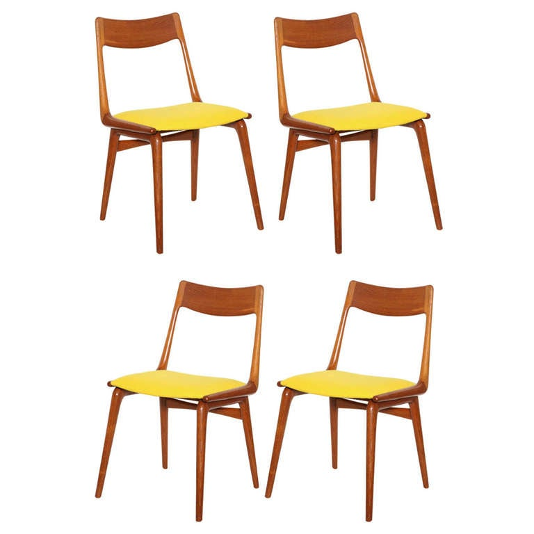Set Of 4 Teak Yellow Boomerang Dining Chairs By Erik Christensen 1