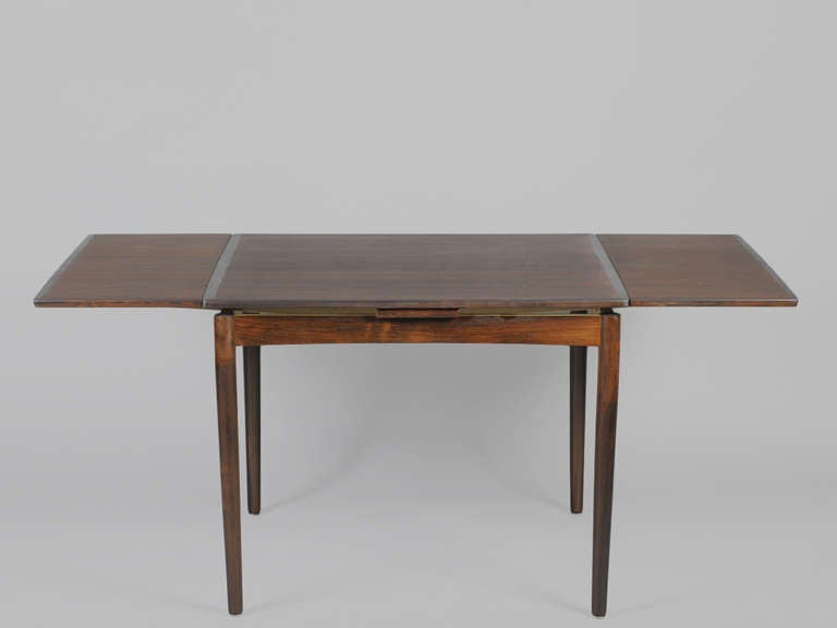 danish modern square dining table with rounded corners and leaves