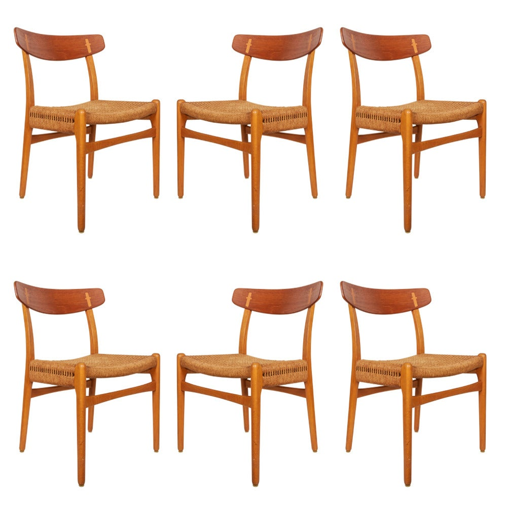 Hans wegner ch23 dining chairs set of six at 1stdibs for Wegner dining chair