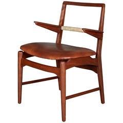 Danish Teak, Cane and Leather Armchair