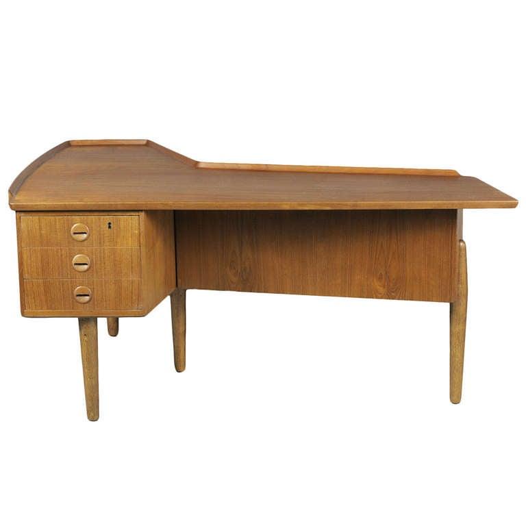 Danish Modern Atomic Era Teak Boomerang Desk by Arne