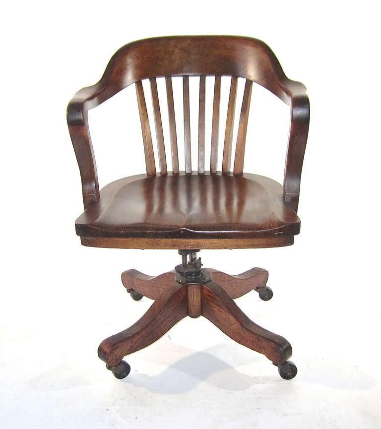 solid walnut swivel desk chair at 1stdibs