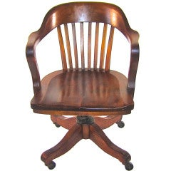 Solid Walnut Swivel Desk Chair