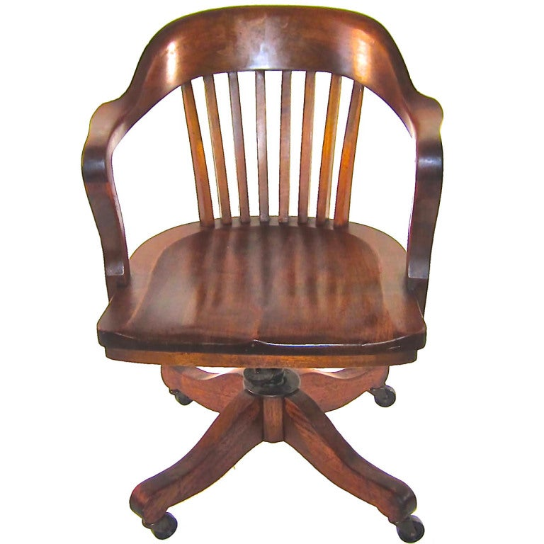 Solid Walnut Swivel Desk Chair at 1stdibs