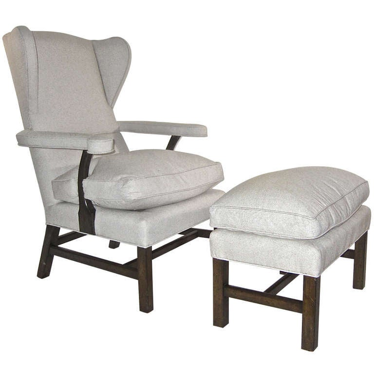 Wingback Chair And Ottoman At 1stdibs