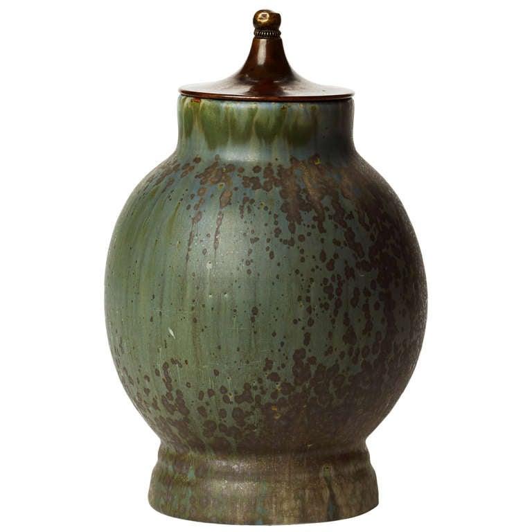 Virtuosically Glazed Stoneware Jar With Bronze Lid By