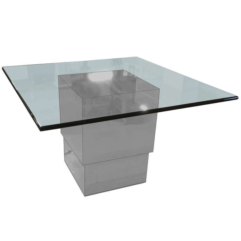 Chrome And Glass Height Adjustable Dining/Coffee Table At