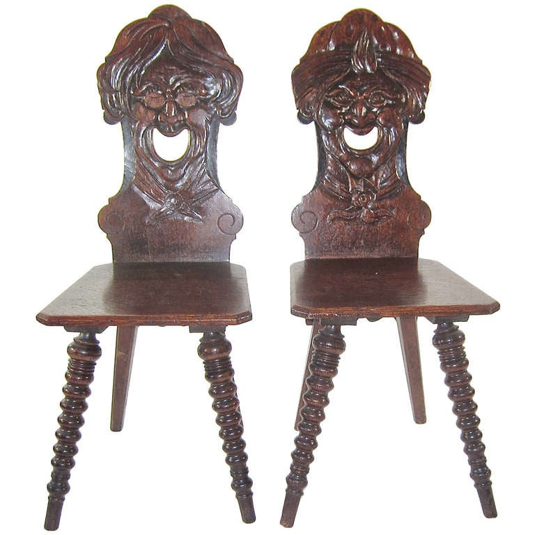 Two Stabellen Carved Face Chairs At 1stdibs