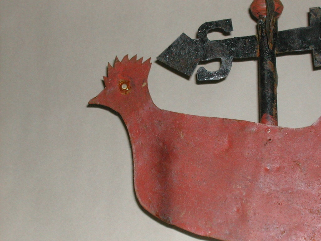 Folky Sheet Metal Rooster Weathervane At 1stdibs
