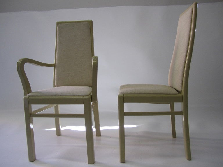italian dining chairs in eggshell lacquer set of twelve