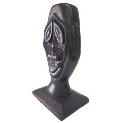 Head in Hands-Carved Unusual African Sculpture