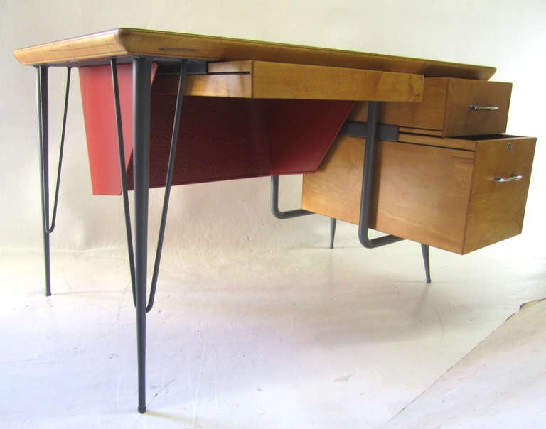 Rare Industrial And Stylish Desk By Raymond Loewy For