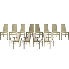 Italian Dining Chairs in Eggshell Lacquer, Set of Twelve