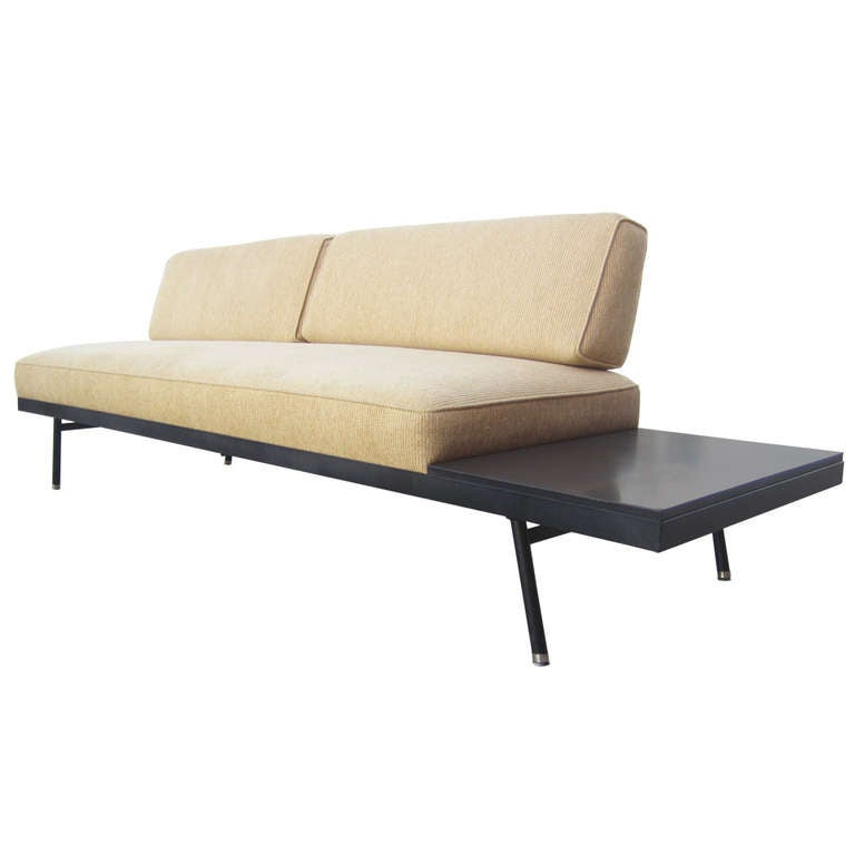 Mid century modern sofa with table by vista of california for Sectional sofa with table attached