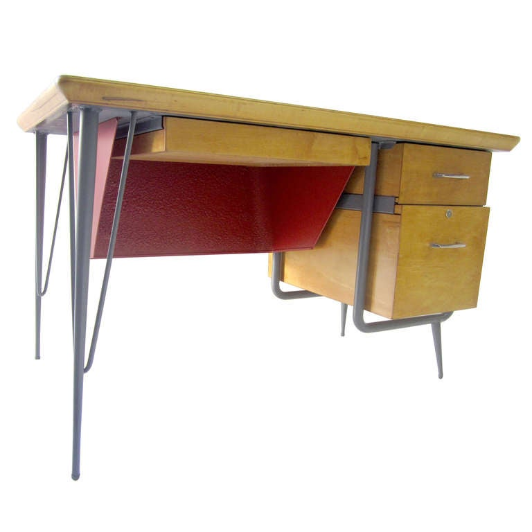 Stylish Desk rare industrial and stylish deskraymond loewy for brunswick at