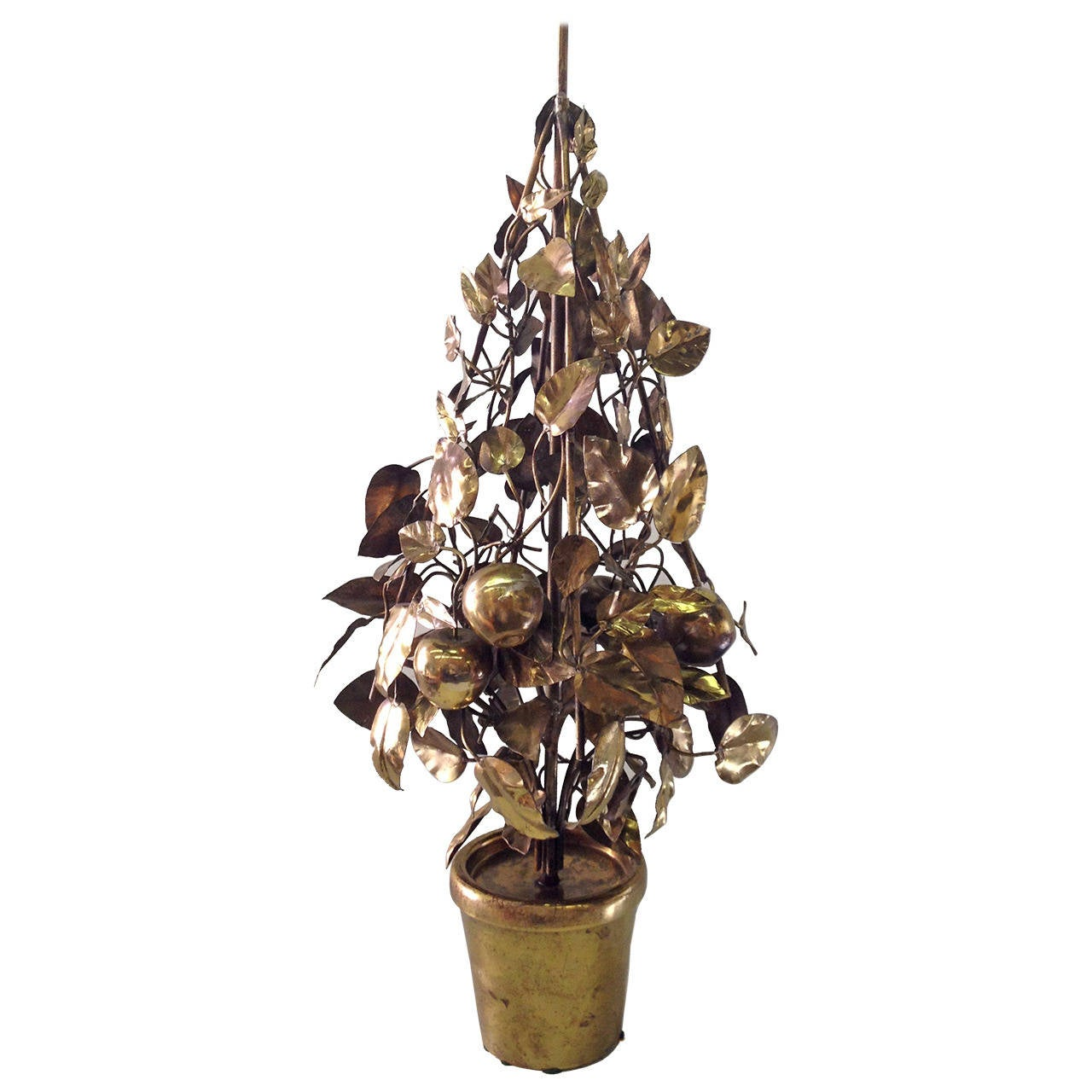 Large-Scale Brass Fruit Tree Lamp by Curtis Jere 1
