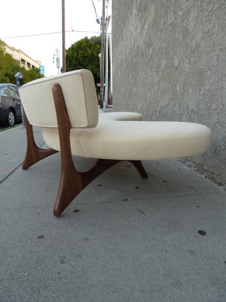 Mid-20th Century Mid-Century Floating Curved Walnut Sofa For Sale