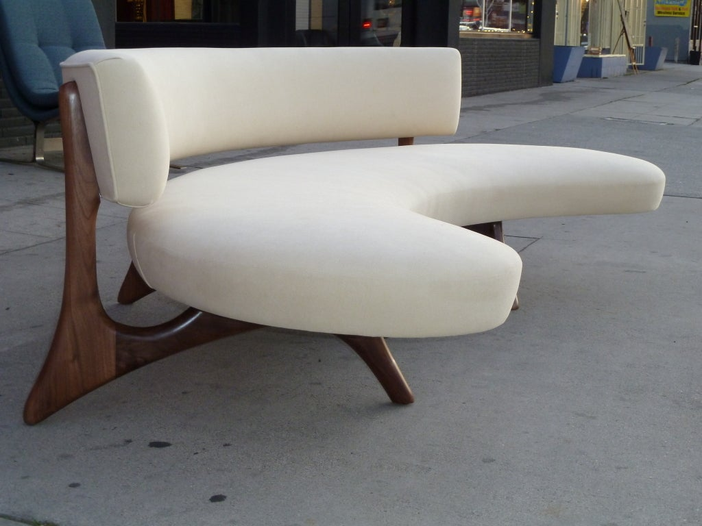 American Mid-Century Floating Curved Walnut Sofa For Sale