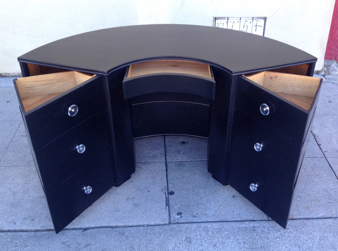 This Curved Half Circle Desk Features Six Swing Out Drawers That Flank A Single Central