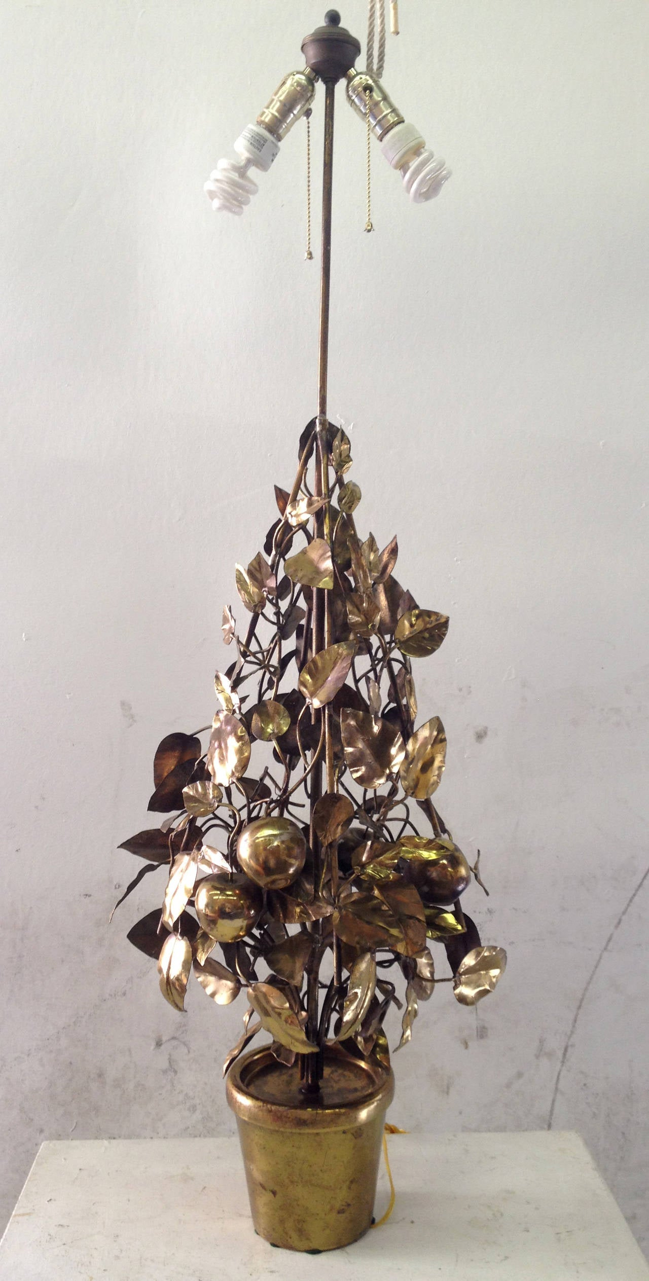 Large-Scale Brass Fruit Tree Lamp by Curtis Jere 2