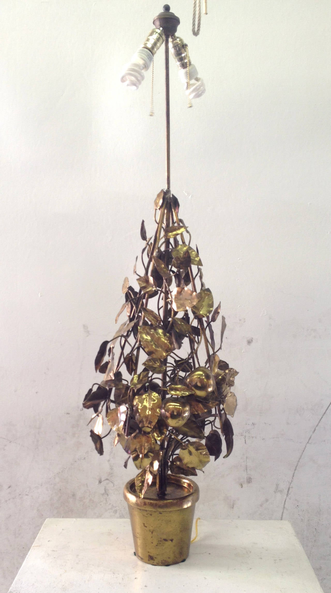 Large-Scale Brass Fruit Tree Lamp by Curtis Jere 3