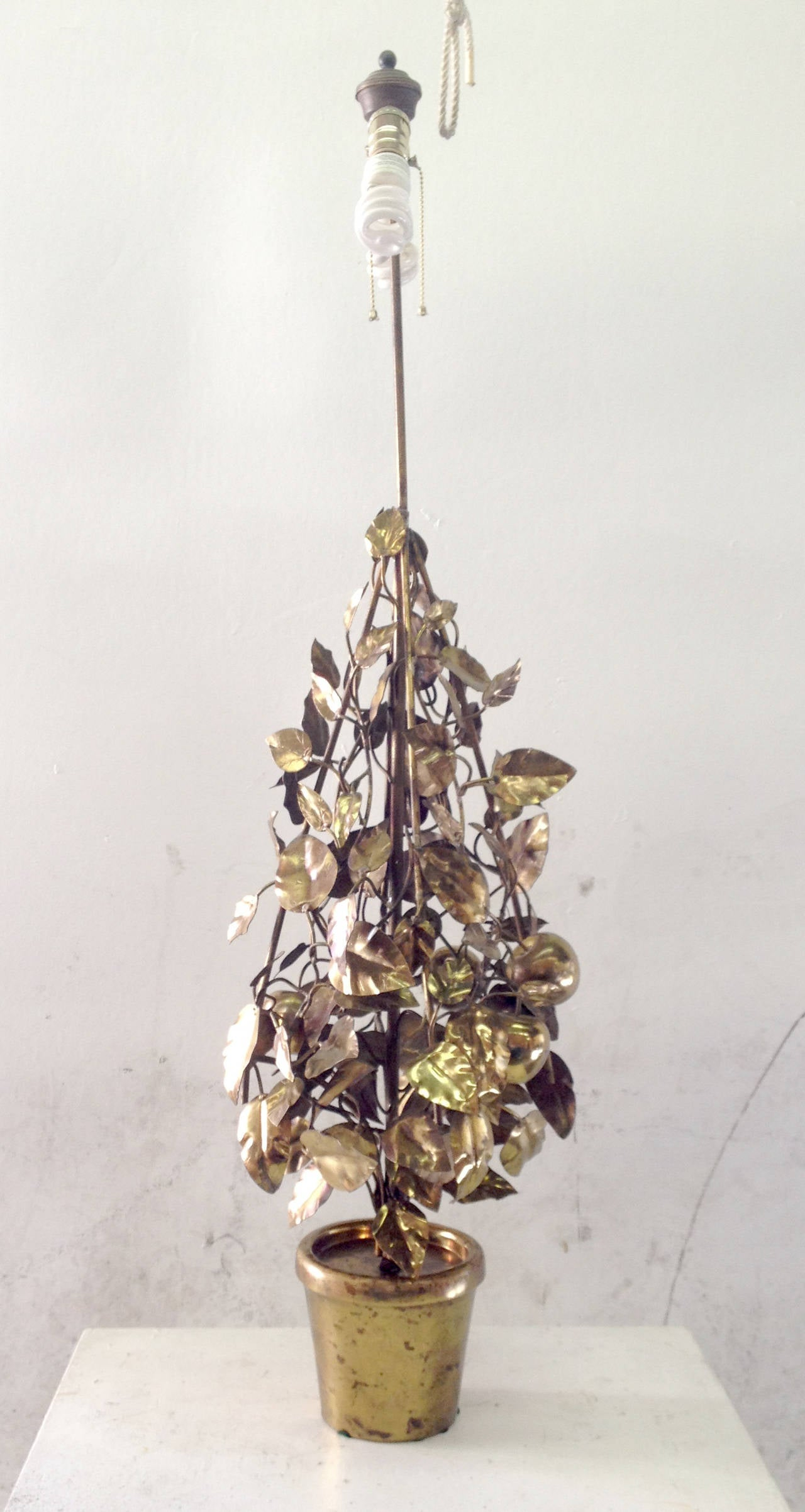 Large-Scale Brass Fruit Tree Lamp by Curtis Jere 4