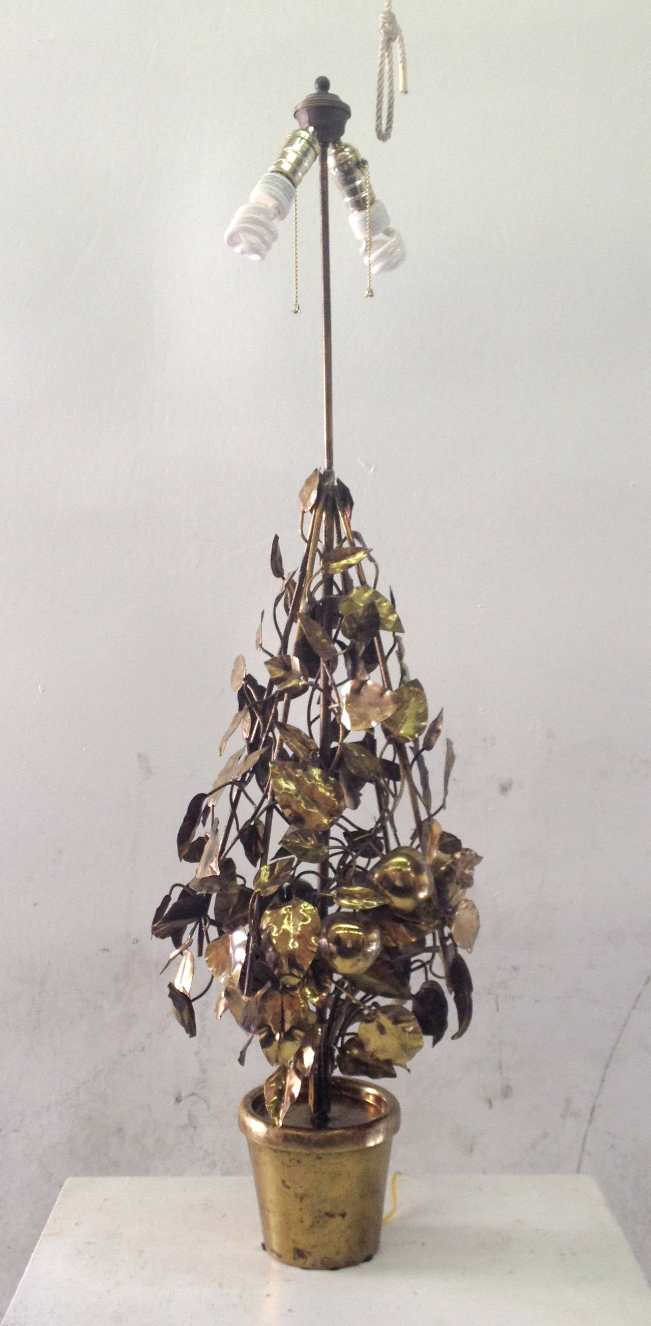 Large-Scale Brass Fruit Tree Lamp by Curtis Jere 5