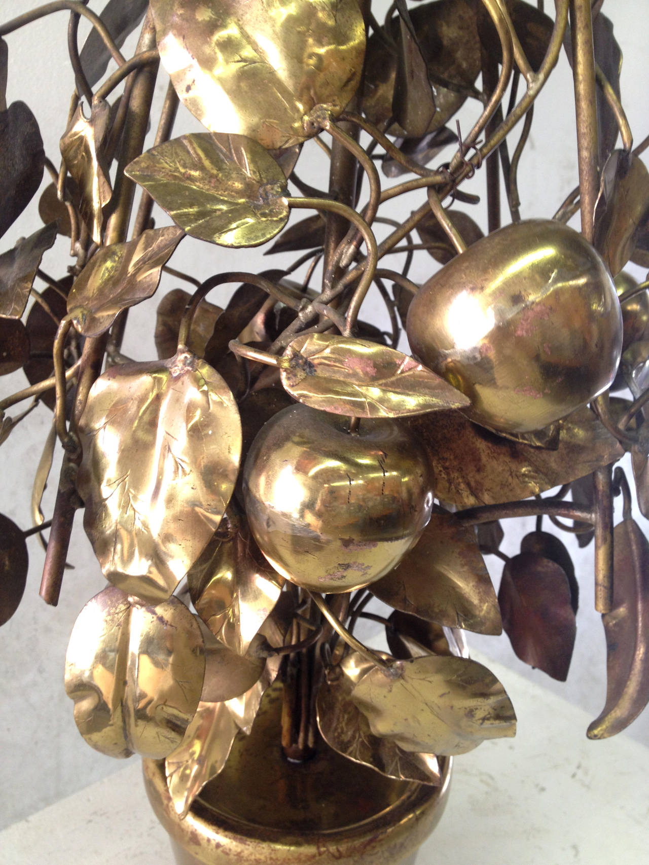Large-Scale Brass Fruit Tree Lamp by Curtis Jere 7