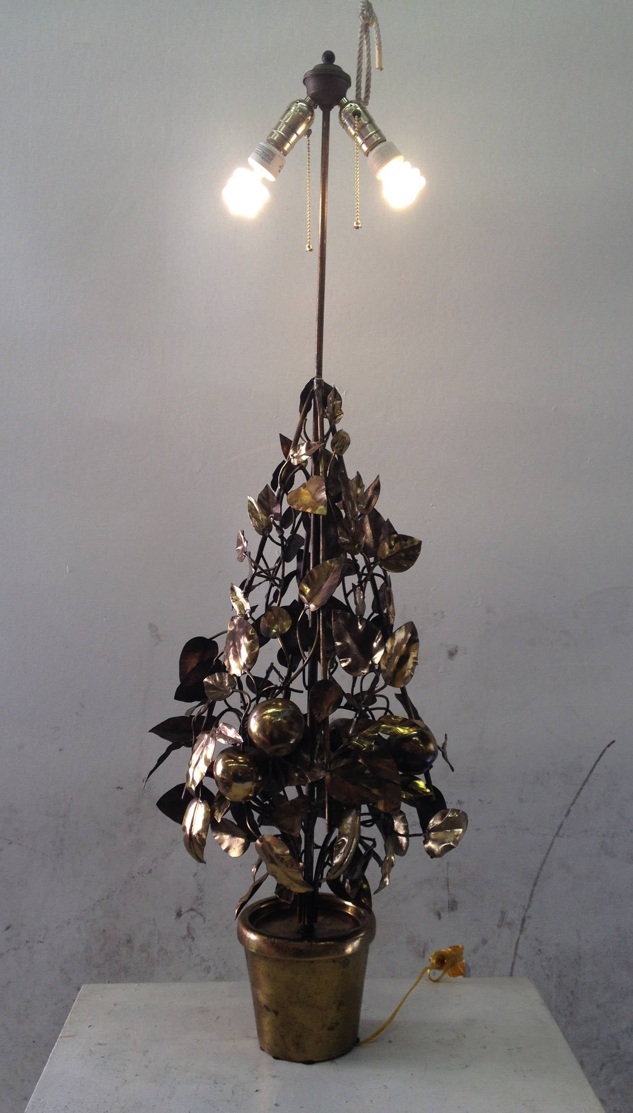 Large-Scale Brass Fruit Tree Lamp by Curtis Jere 9