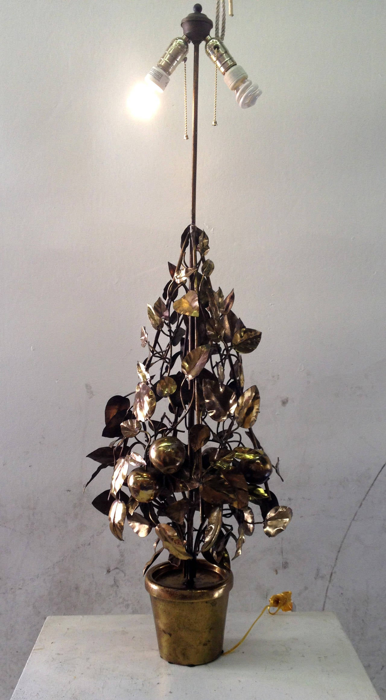 Large-Scale Brass Fruit Tree Lamp by Curtis Jere 10