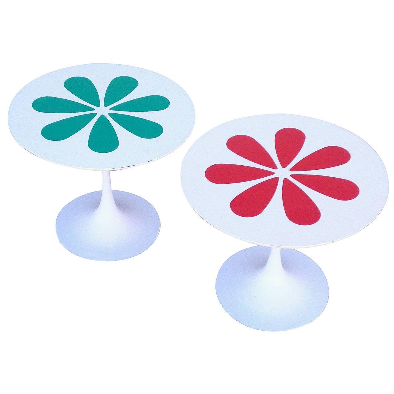 Burke Tulip Tables with Laminate Flower Motif inspired by Eero Saarinen