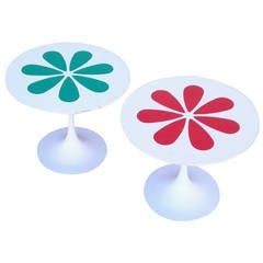 Burke Tulip Tables with Laminate Flower Motif inspired by Eero Saarinen