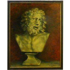 French Painting of a Classical Bust by Durand Louis