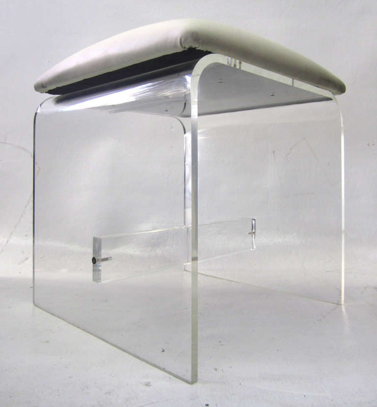1970s waterfall vanity stool in lucite at 1stdibs - Acrylic vanity chair ...