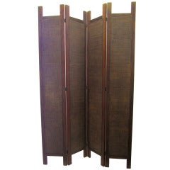 8 Foot Tall Four-Panel Woven Rattan Screen / Divider