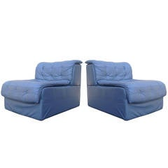 Pair of De Sede DS-11 Grey-Blue Leather Slipper Chairs